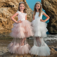 Pink Ball Gown Pageant Dresses For Girls Two Pieces Flower Girl Dresses For Weddings 2018 New Style Tiered Vestidos De Comunion