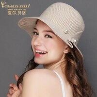 Charles Perra Sun Hats Female Simple Elegant Fashion Straw Hat Collapsible Women Summer Beach Sunscreen Visor Caps 5032