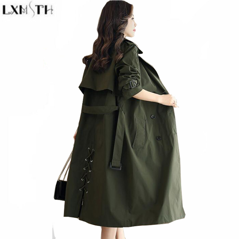 LXMSTH Double Breasted   Trench   Coat Woman 2019 Spring Autumn Coats Women With Belt Ladies Slim Green Bandage Long   Trench   Elegant