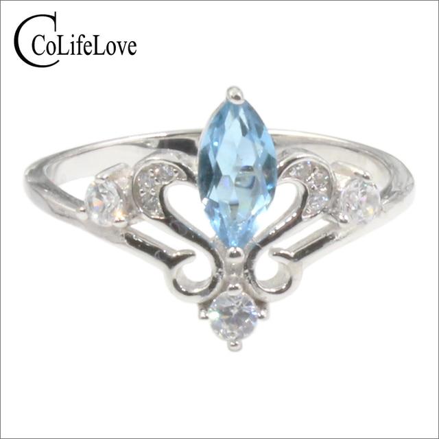 Anillo de compromiso de corona de plata 925 auténtica de 100%, anillo de topacio natural de 4 mm X 8mm, anillo de topacio de plata 925 sólido, regalo para niña
