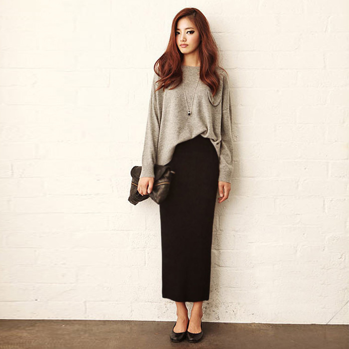 Online Shop Autumn Winer Style Skirts Elastic Waist Ankle Length ...
