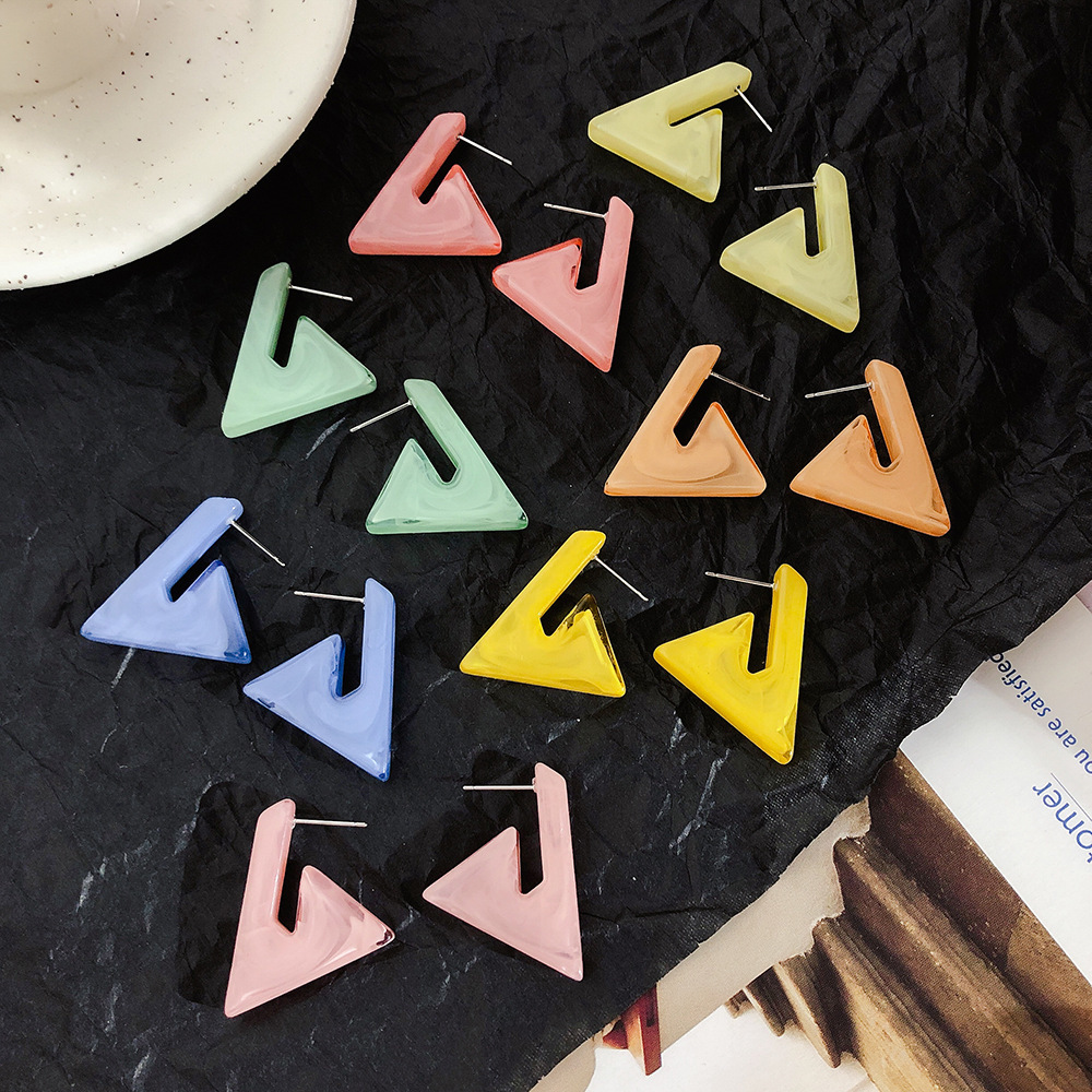 New Hiphop Style Geometric Triangle Drop Earrings Macarons Acetic Acid Acrylic Women Jewelry Party Bijoux in Drop Earrings from Jewelry Accessories