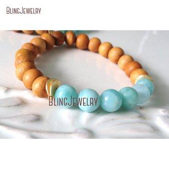 Wood and Mint Beads Bracelet Gold Spacers Bracelets BM23711