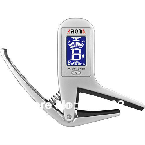 AC-01 Guitar Tuner Capo 2 IN1 AROMA Metal Guitarra Bass Chormatic CHRO Capos Tuner Silver capo Trigger Free shipping alice brand capo for acoustic classical electric guitar crocodile style high quality aluminum alloy capo guitarra capos a007g