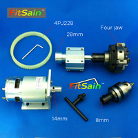 FitSain 775 DC24V 8000RPM motor pulley four jaw chuck D=50mm B12 drill chuck 1.5 10mm Pulley mini Lathe spindle