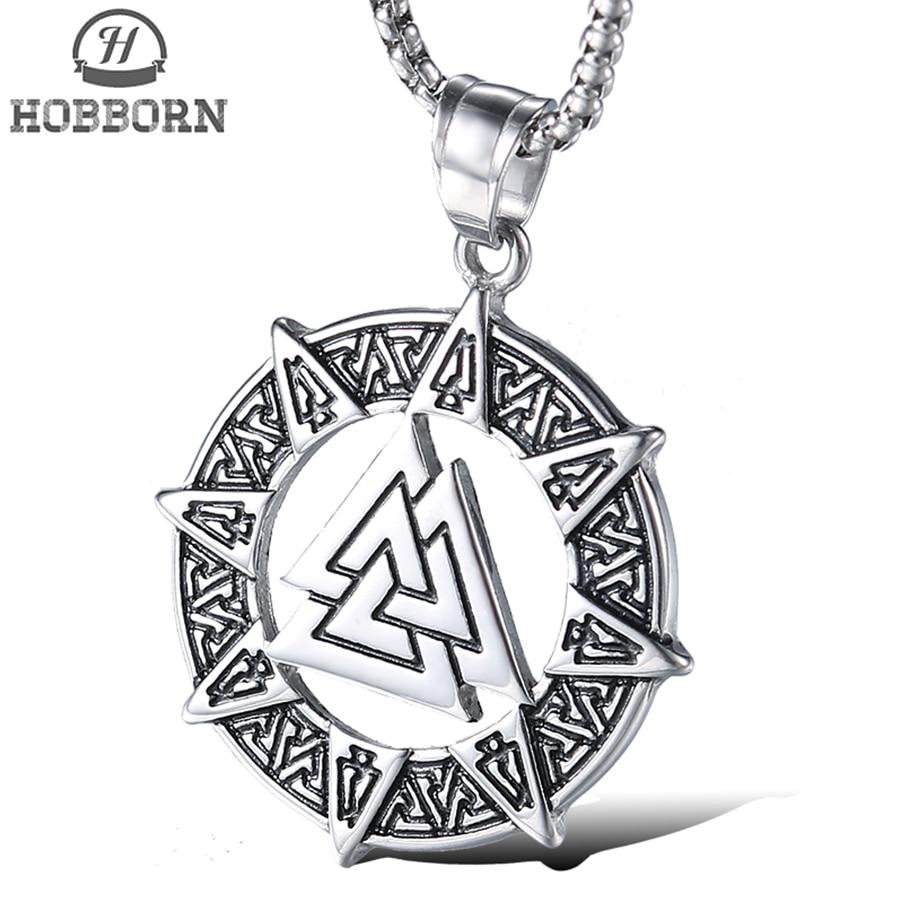 HOBBORN Pagan Amulet Men Pendants & Necklaces Titanium Steel Odin Symbol of Norse Viking Warrior jewelry Valknut Men Necklace
