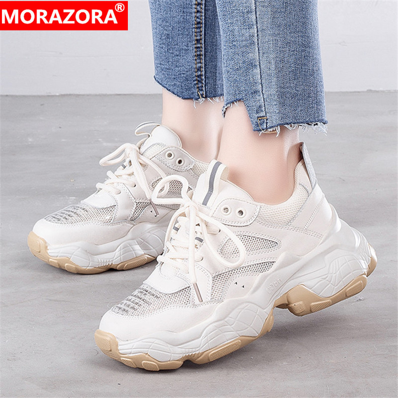 MORAZORA 2019 genuine leather shoes women flat platform sneakers breathable mesh Dad shoes lace up casual