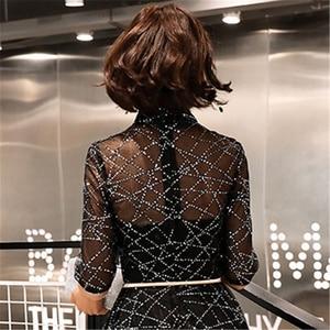 Image 5 - A line akşam elbise yarım kollu Shining mavi yeni moda resmi balo kıyafetleri zarif fermuar kat uzunluk kadın parti elbisesi E066