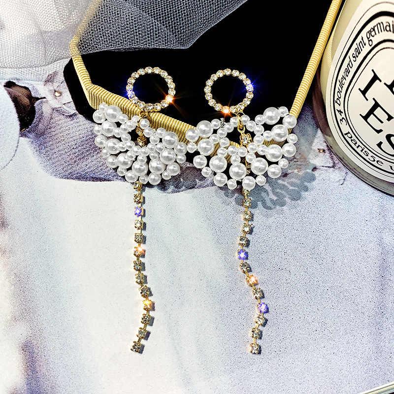 2019 New Arrival  Crystal Trendy  Women Dangle Earrings Long Tassel Earrings Female Korean  Pearl Earrings Simple Female Jewelry