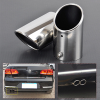 DWCX 2x STAINLESS STEEL EXHAUST TAIL REAR MUFFLER TRIM TIP PIPE TAILPIPE For VW Passat B6