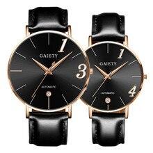 2018 модные пару часов кожаный ремешок линии Аналоговые Кварцевые женские наручные часы подарок браслет часы женские Для мужчин часы кожа