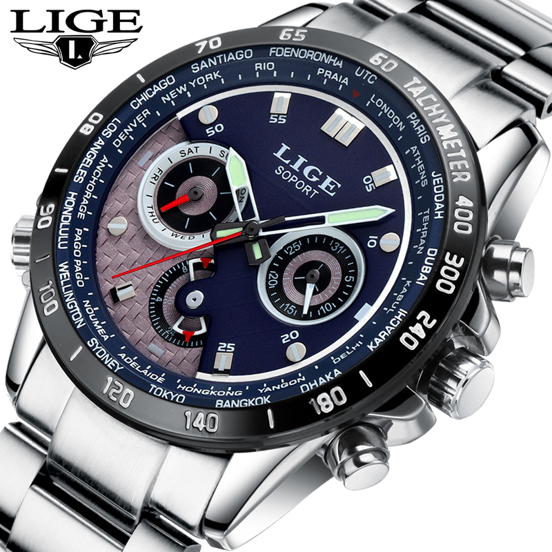 Relojes LIGE Mens Watches Brand Luxury Men Military Sport Luminous Wristwatch Male Leather Quartz Watch Clock relogio masculino top brand luxury moers men military sport luminous wristwatch montre homme mens watches leather quartz watch relogio masculino