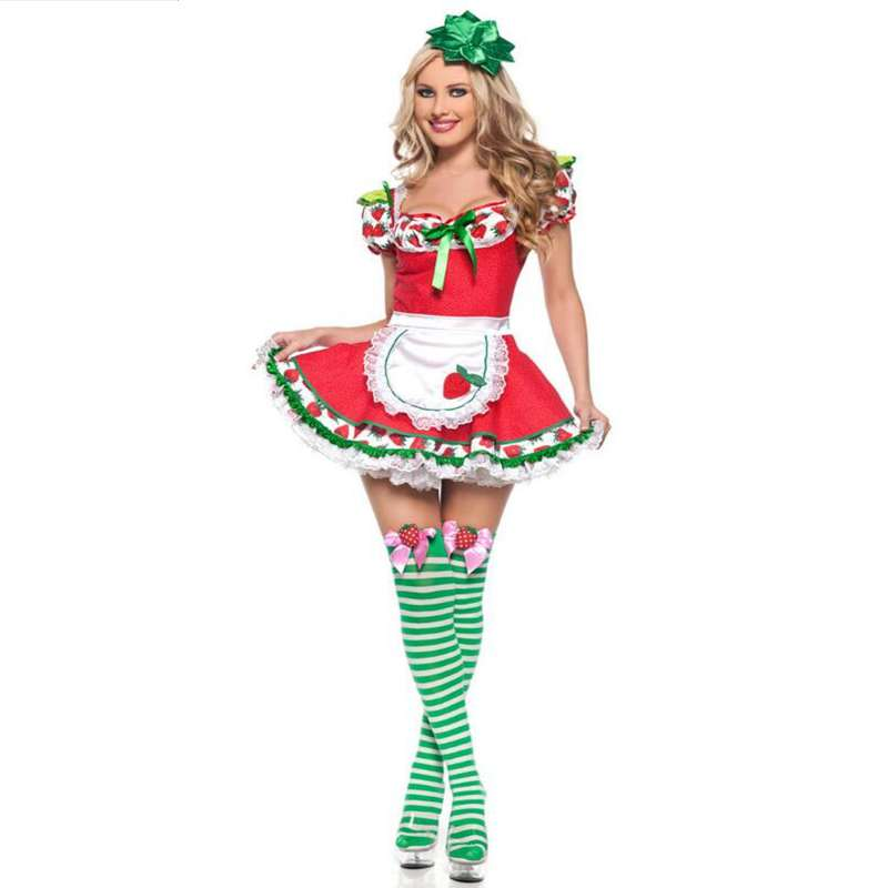 european style uniform halloween game role as fashion strawberry girl uniform temptation - Halloween Fashion Games