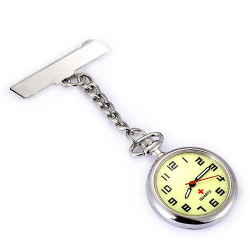 Doctor Moonlight Pendant Pocket Quartz Red Cross Brooch Nurses Watch Fob Hanging Medical Pocket Watch Relogio Clock Stainless
