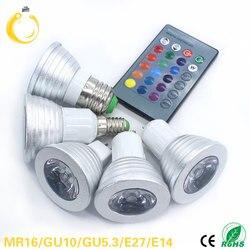 Светодиодная RGB лампа E27 E14 AC85-265V 5 Вт, светодиодные Сменные точечные лампы, волшебный праздничный RGB светильник с ИК-пультом дистанционного у...