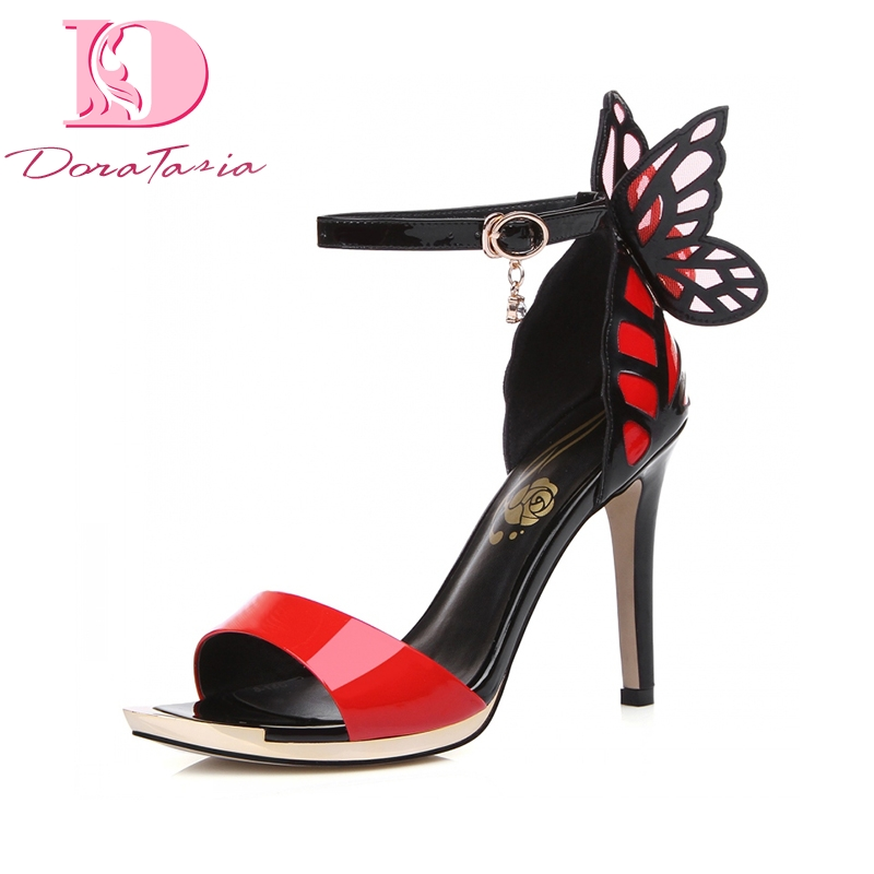 DoraTasia 2018 Genuine Leather Thin High Heels Butterfly Summer Sandals Shoes Sexy ankle-strap Party Wedding Women Shoes super high ladies sweet sexy summer butterfly crystal high heels sandals women platform ankle strap shoes purple wedding shoes
