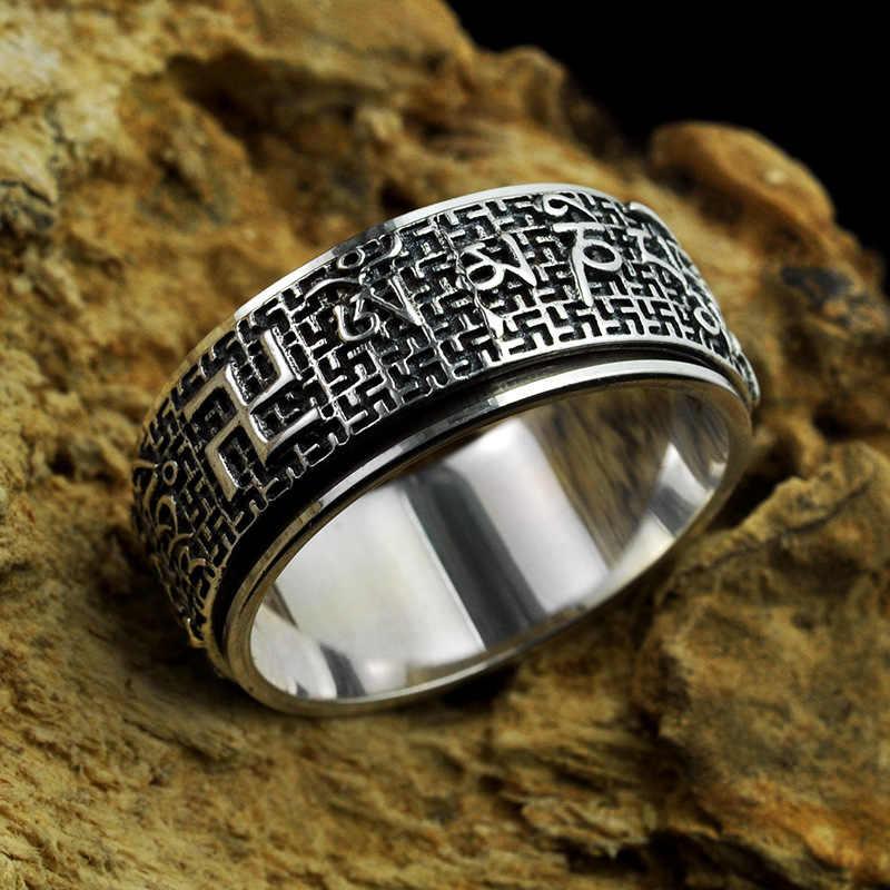 Кольца из стерлингового серебра 925 для женщин и мужчин тибетские шесть слов Ом Мани Падме ГУМ буддийская мантра кольцо ювелирные изделия в стиле буддизма