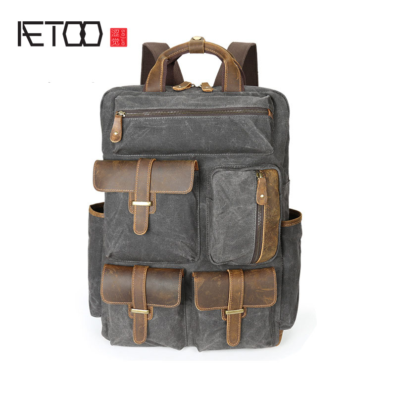 AETOO Oil wax canvas bag backpack men travel retro canvas bag large men bag
