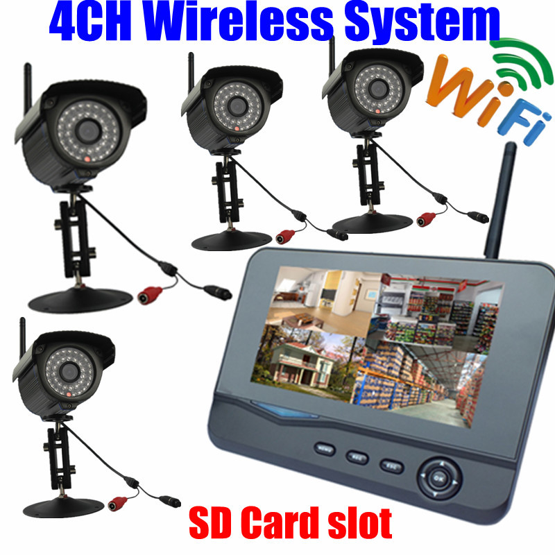 digital wireless Outdoor Home IR security camera WIFI 7inch lcd Monitor SD Card video Suveillance recording 4CH USB DVR system wireless waterproof security camera system 2 4g long transmitter distance 4cameras dvr monitor up to 32g sd card wifi ipcam kits