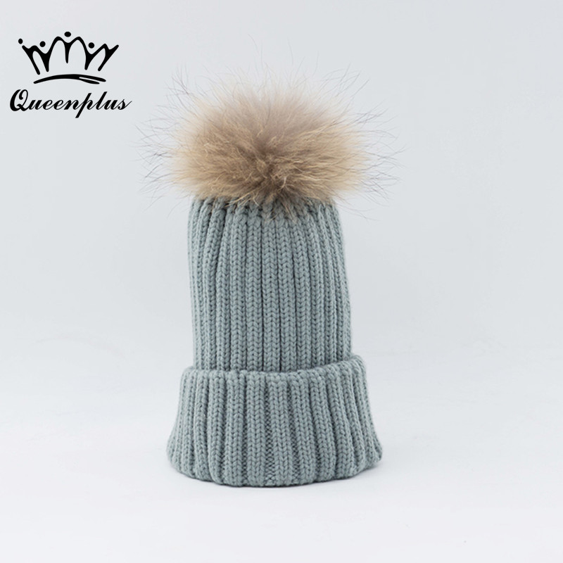 mink and fox fur ball cap pom poms winter hat for women girl 's hat knitted  beanies cap brand new thick female cap new star spring cotton baby hat for 6 months 2 years with fluffy raccoon fox fur pom poms touca kids caps for boys and girls