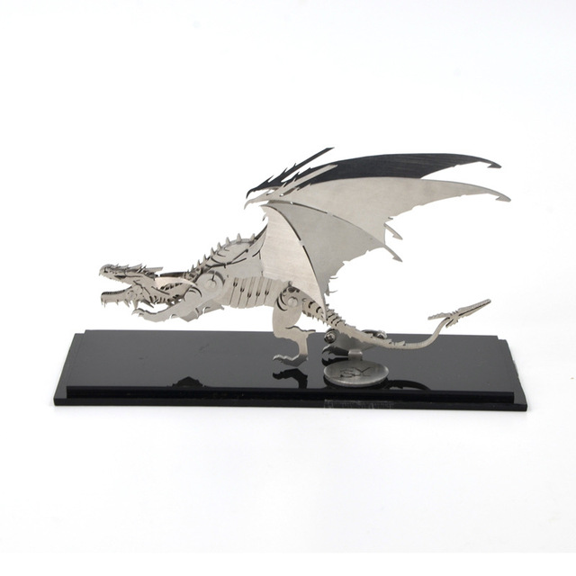 DIY 3D Novelty Metal Puzzle Frost Wyrm Stainless Steel Dinosaur Model Kids Educational Toys Elegant Manual Gifts TK0144