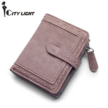 CITY LIGHT Women wallet fashion Two folding multi-function h