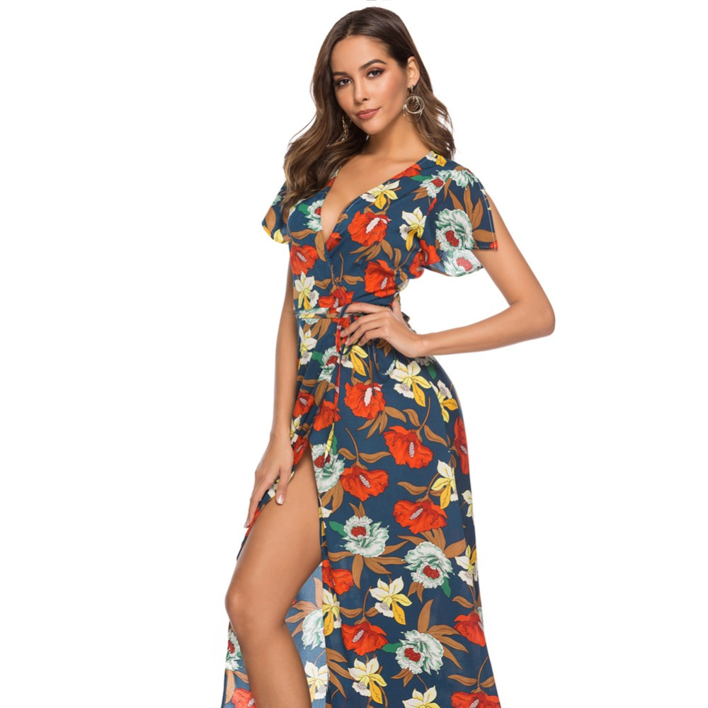 Bohemian Women Summer Beach Dress Elegant Floral Printing Empire Female Max Dress V-neck Loose Lady Vestidos