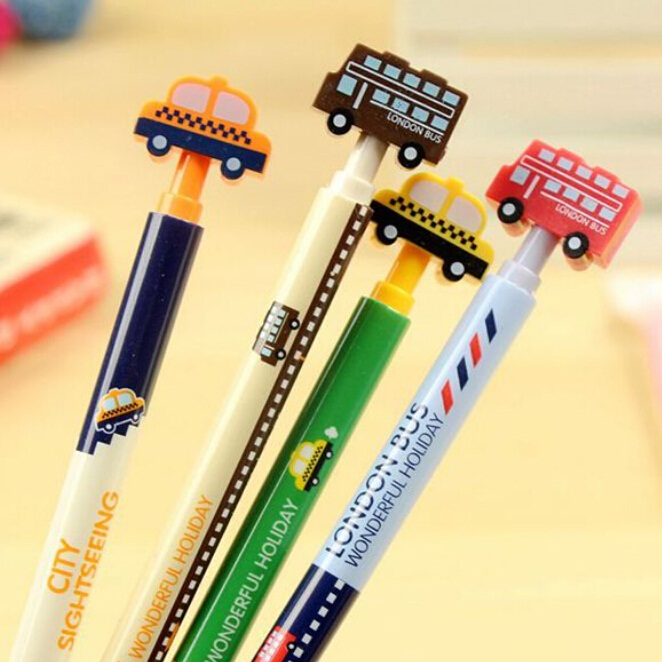 Hot sale student stationery casual style cute promotion kawaii novelty.Sweet Car design press style ballpoint pen.0.5mm Blue.Lo
