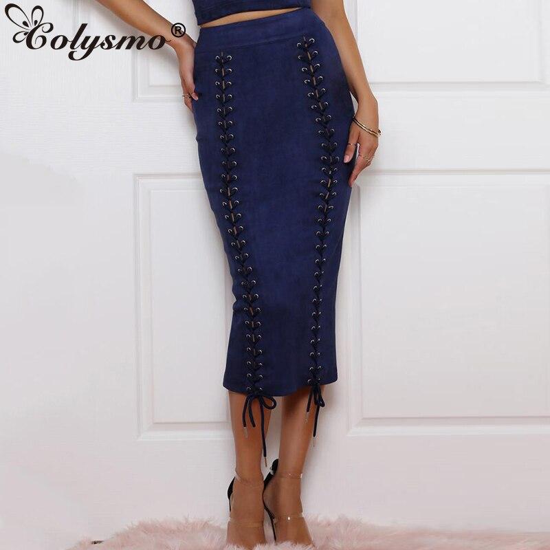 Colysmo Suede Otoño Invierno Faldas Mujer imitación cuero falda encaje  hasta alta cintura faldas largas para 5bf52cf4dfc8