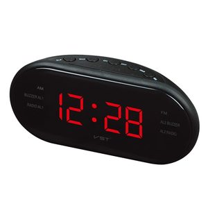 AM/FM LED Clock Radio With Dual Alarms Sleep Snooze Function Outlet Powered Big Digit Display for Bedroom Timed Shutdown