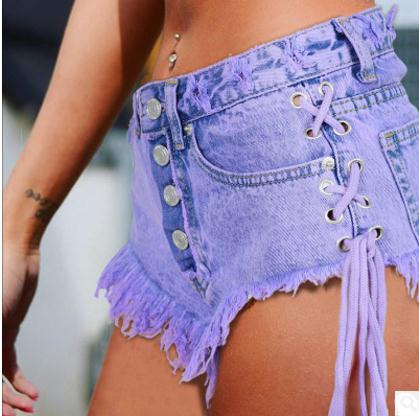 High Waisted Summer Ladies Mini Jeans Shorts Women Both Side Tie Sexy Denim Shorts Jeans Female Bandage Buttons Mini Short K704