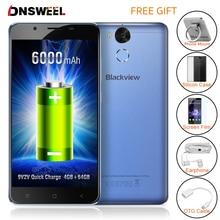 Оригинал Blackview P2 сотовый телефон 4 ГБ Оперативная память 64 ГБ Встроенная память смартфона MT6750T Octa Core 5.5 дюймов Full HD 6000 мАч Мобильный телефон 13MP бесплатный подарок