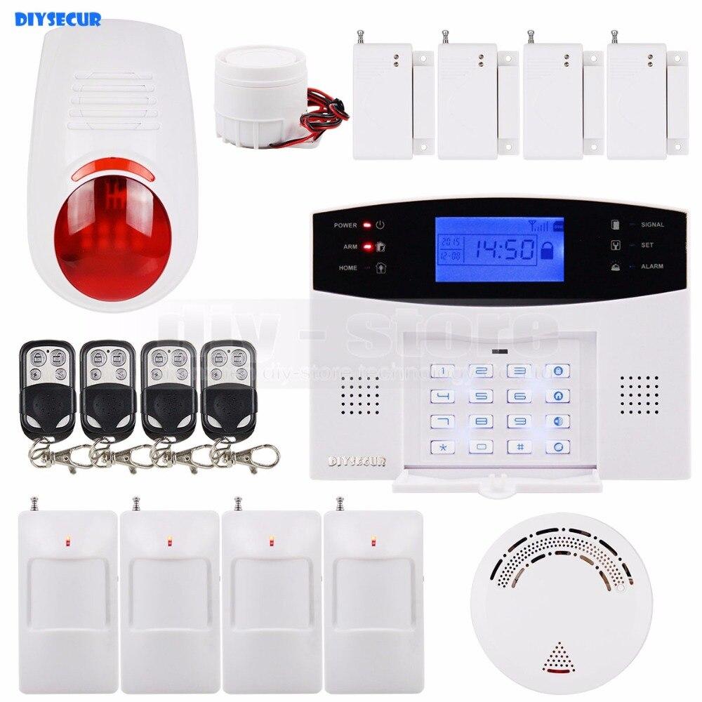 DIYSECUR 433MHz Wireless & Wired GSM SMS Home Security Alarm System Kit + Wireless Flash ...