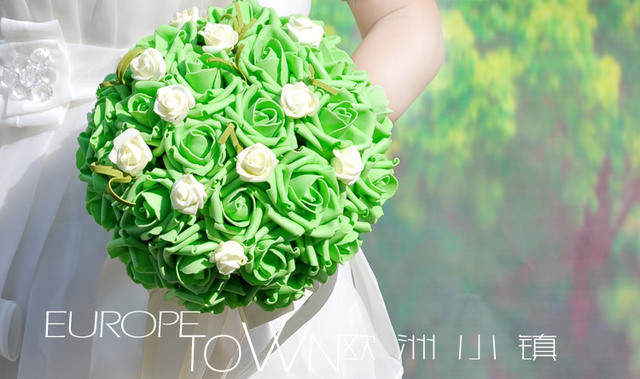 2017 Дешевые Новое Прибытие Свадебный Букет невесты Невесты Красный/Фиолетовый/Зеленый Искусственный Цветок Розы Невесты Букеты buque де noiva