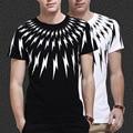 Бесплатная доставка корея звезда мода мужская гром дизайн футболка шею хлопка молния тис топ