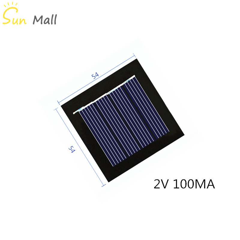 Mini Poly Solar Panel 2V 100MA For Rechargeable 1.2V Battery With DC Small Motor