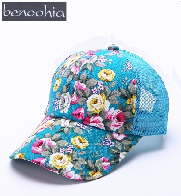 ef7d7e3b58401a RZ002 Summer women floral printed baseball caps Breathable 6 panels mesh  snapback hats for hip hop