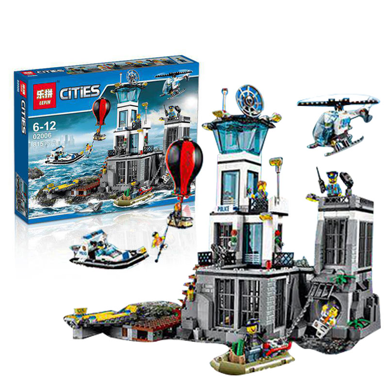 815pcs Lepin 02006 City Series The Prison Island Set Building Blocks Bricks Educational Toys for children Gift brinquedos  lis lepin 02006 815pcs city series prison island set children educational building blocks bricks boy toys with 60130