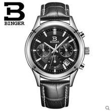 Binger Chronograph Casual Watch Men Luxury Brand Quartz Military Sport Watch Genuine Leather Wristwatch relogio masculino