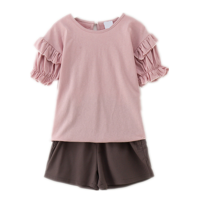 4 to 14 years kids & teenager girls summer ruffle cotton casual t shirts with short 2 pieces set children fashion suit clothes