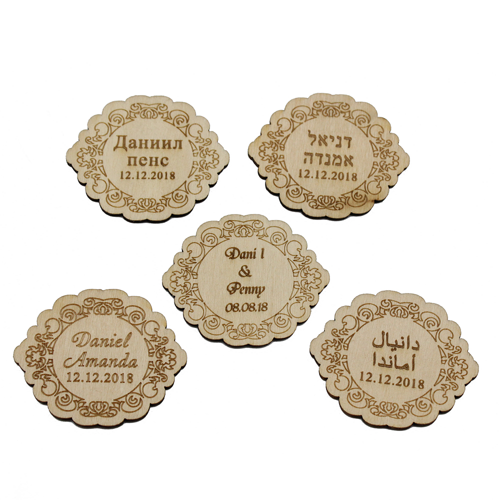 Top 100 Wedding Gifts: Aliexpress.com : Buy 100pcs Wood Personalized Laser