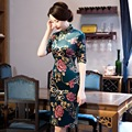 New Plus size Velour Cheongsam Dress Vintage Elegant Half sleeve Women's Qipao ZA296