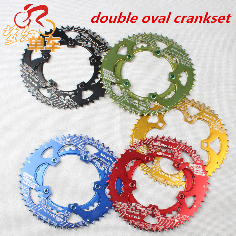 110mm BCD Road Folding Bike Bicycle Five Hand Crank Double Oval Chairing Crankset Chain Wheel with five screws colt meijun charm road bicycle folding crank modified single disc cairica tooth wheel crank leg