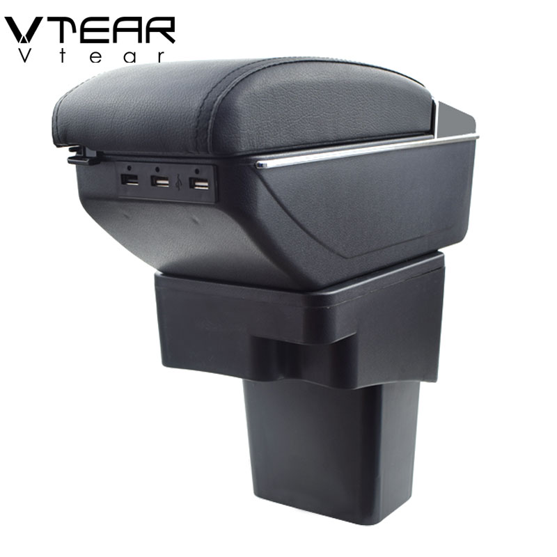 Vtear For Hyundai Solaris accent armrest box USB Charging heighten Double layer central Store content cup