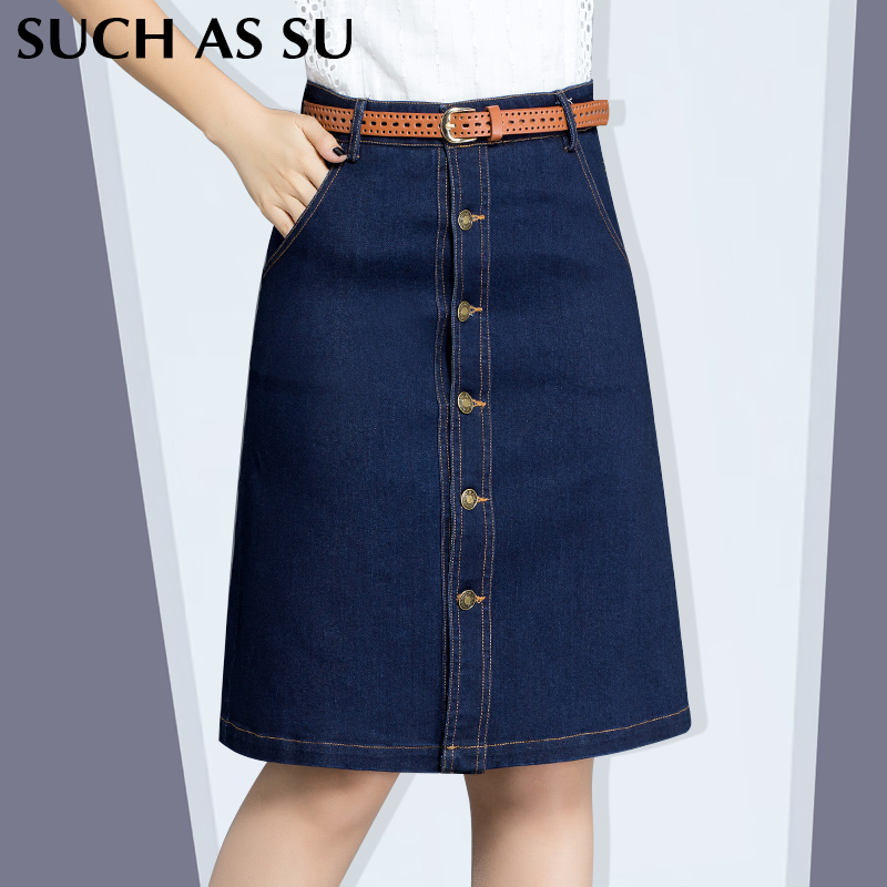 2016 new fashion womens vintage blue denim skirts single