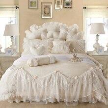 Жаккард хлопок кружева принцесса кровать комплект роскошные свадебные постельного белья queen King size постельное белье лист Boho постельное белье