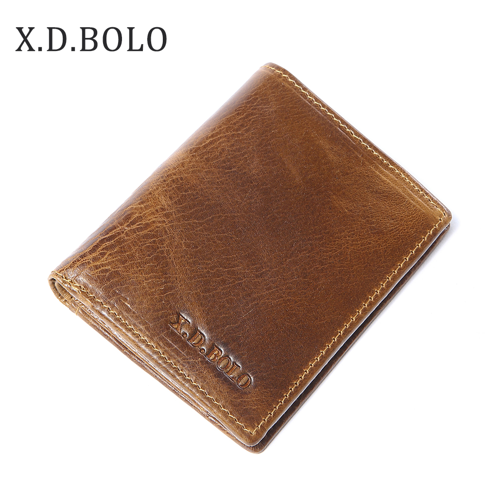 X.D.BOLO Small Wallet Coin-Holder Short Mens Purse Casual with Genuine-Leather Slim
