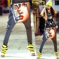 2015 New Brand Jazz harem women hip hop animal tiger pants dance doodle summer loose big crotch pants sweatpants Trousers