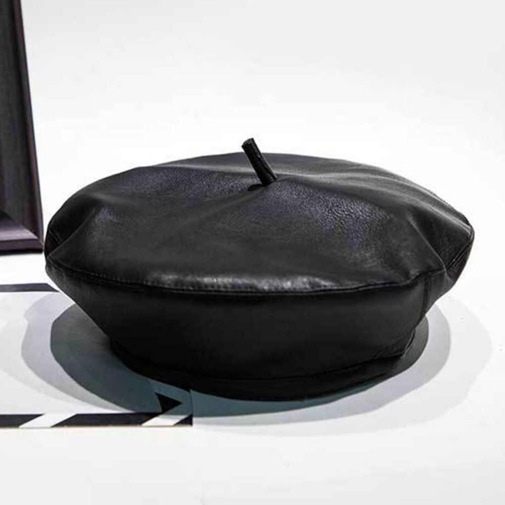 Роскошные Модные осенние зимние черные шапки-береты из искусственной кожи женские теплые шапки женские французские женские брендовые дизайнерские регулируемые береты
