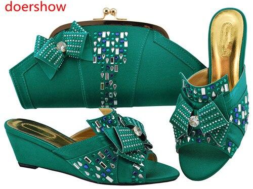 Doershow 2018 nouvelles chaussures italiennes assorties et sac ensemble Style africain dames MAGENT chaussures et sac pour correspondre à la robe de mariée! HH1-13 - 4